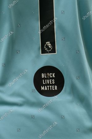 The Black LIves Matter logo on the shirt of Norwich City Goalkeeper Tim Krul