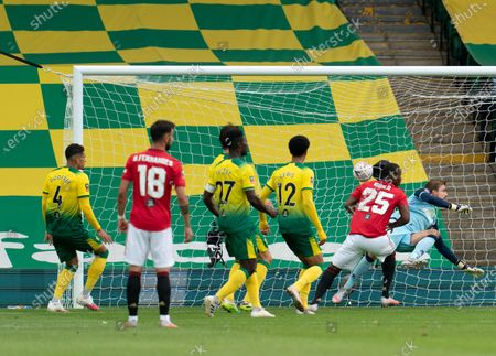 Odion Ighalo of Manchester United scores a goal past Norwich City Goalkeeper Tim Krul, 0-1