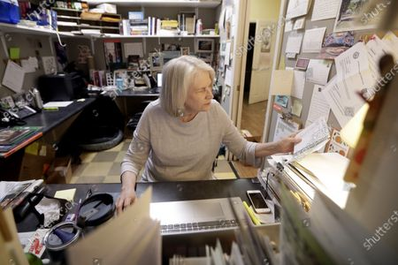 Stock Image of Karen Hayes works in her office in Parnassus Books in Nashville, Tenn. The independent bookstore, owned by Hayes and novelist Ann Patchett, opened and thrived while others were closing their doors and is once again defying the odds during the coronavirus pandemic