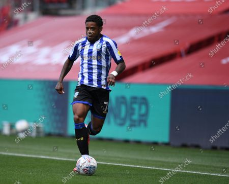 Ashton Gate Stadium, Bristol, England; Kadeem Harris of Sheffield Wednesday brings the ball forward; English Football League Championship Football, Bristol City versus Sheffield Wednesday.