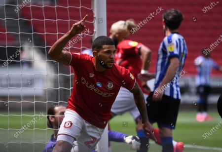 Ashton Gate Stadium, Bristol, England; Nahki Wells of Bristol City turns and celebrates after he scored with a header past keeper Wildsmith in the 68th minute for 1; English Football League Championship Football, Bristol City versus Sheffield Wednesday.