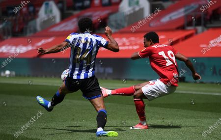 Ashton Gate Stadium, Bristol, England; Jacob Murphy of Sheffield Wednesday attempts to block the cross from Niclas Eliasson of Bristol City; English Football League Championship Football, Bristol City versus Sheffield Wednesday.