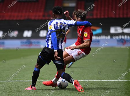 Ashton Gate Stadium, Bristol, England; Moses Odubajo of Sheffield Wednesday tackles Jamie Paterson of Bristol City in the penalty area; English Football League Championship Football, Bristol City versus Sheffield Wednesday.