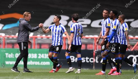 Ashton Gate Stadium, Bristol, England; Garry Monk Manager of Sheffield Wednesday congratulates his players after the match; English Football League Championship Football, Bristol City versus Sheffield Wednesday.