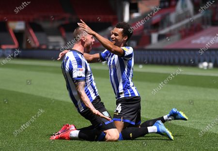 Ashton Gate Stadium, Bristol, England; Connor Wickham celebrates with Jacob Murphy of Sheffield Wednesday on scoring the first goal of the match; English Football League Championship Football, Bristol City versus Sheffield Wednesday.