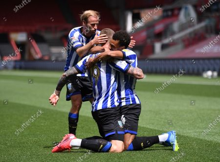 Ashton Gate Stadium, Bristol, England; Connor Wickham of Sheffield Wednesday celebrates with his team after scoring the first goal in the 13th minute 0; English Football League Championship Football, Bristol City versus Sheffield Wednesday.