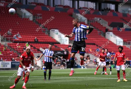 Ashton Gate Stadium, Bristol, England; Connor Wickham of Sheffield Wednesday heads home the first goal in the 13th minute 0; English Football League Championship Football, Bristol City versus Sheffield Wednesday.
