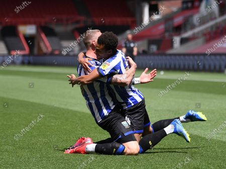 Ashton Gate Stadium, Bristol, England; Connor Wickham of Sheffield Wednesday celebrates with Jacob Murphy after scoring the first goal in the 13th minute 0; English Football League Championship Football, Bristol City versus Sheffield Wednesday.