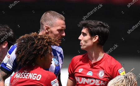 Ashton Gate Stadium, Bristol, England; Connor Wickham of Sheffield Wednesday and Callum O'Dowda of Bristol City have words after a clash; English Football League Championship Football, Bristol City versus Sheffield Wednesday.
