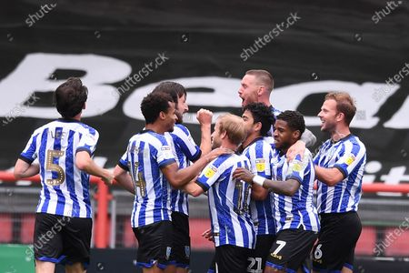 Ashton Gate Stadium, Bristol, England; Massimo Luongo of Sheffield Wednesday celebrates with his team after scoring in the 62nd minute 0; English Football League Championship Football, Bristol City versus Sheffield Wednesday.