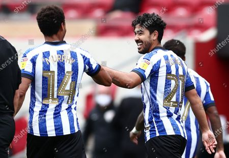 Massimo Luongo of Sheffield Wednesday celebrates scoring his sides second goal.