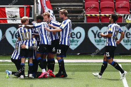 Connor Wickham of Sheffield Wednesday celebrates scoring the opening goal.