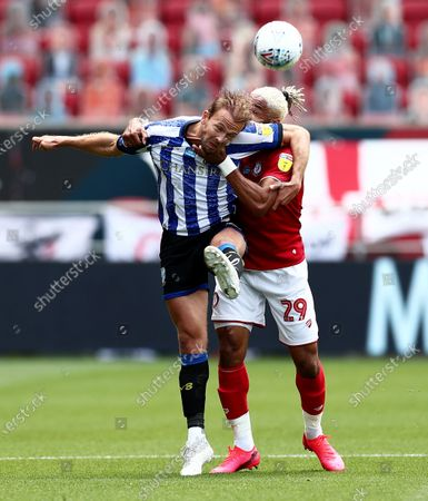 Ashley Williams of Bristol City and Jordan Rhodes of Sheffield Wednesday.