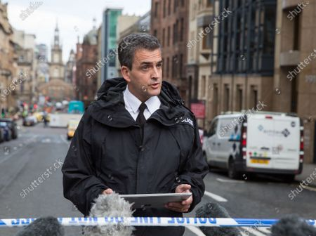 Assistant Chief Constable Steve Johnson of Police Scotland makes a statement to the media outside the scene of a stabbing incident in downtown Glasgow, Scotland, Britain, 26 June 2020. According to media reports, police have shot an attacker who had allegedly stabbed a number of people at a hotel.