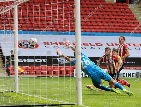 Chris Basham of Sheffield United fails to score from a good chance