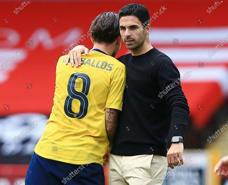 Arsenal manager Mikel Arteta with Dani Ceballos at the end of the game