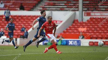 Lewis Grabban slots in number two for himself During the EFL SkyBet Championship match between Nottingham Forest and Huddersfield Town.