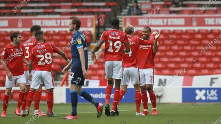 Forest celebrate going two up thanks to a Grabban brace during the EFL SkyBet Championship match between Nottingham Forest and Huddersfield Town.
