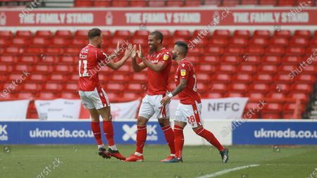 Matty Cash joins in the celebrations during the EFL SkyBet Championship match between Nottingham Forest and Huddersfield Town.
