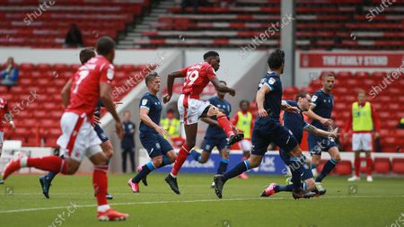 Sammy Ameobi lets fly from the edge of the area During the EFL SkyBet Championship match between Nottingham Forest and Huddersfield Town.