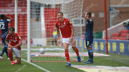 Ryan Yates is all smiles after scoring During the EFL SkyBet Championship match between Nottingham Forest and Huddersfield Town.