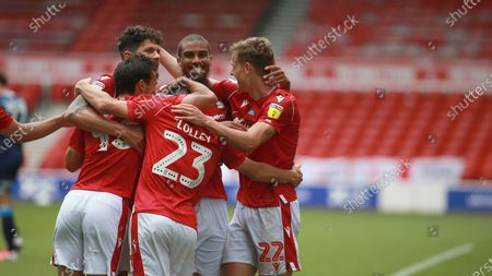 All smiles for Forest after scoring their third During the EFL SkyBet Championship match between Nottingham Forest and Huddersfield Town.