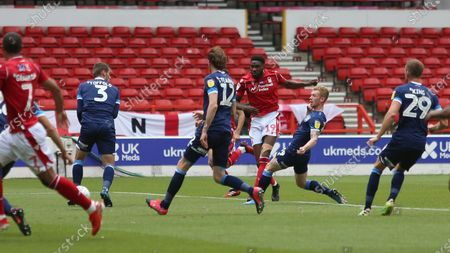 Sammy Ameobi has a go from the edge of the area for Forest.