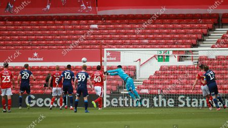 Brice Smba punches a freekick clear During the EFL SkyBet Championship match between Nottingham Forest and Huddersfield Town.