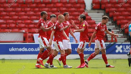 Forest celebrate going ahead During the EFL SkyBet Championship match between Nottingham Forest and Huddersfield Town.