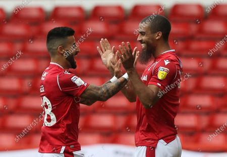 Nottingham Forest's Lewis Grabban the second goal with Tiago Silva