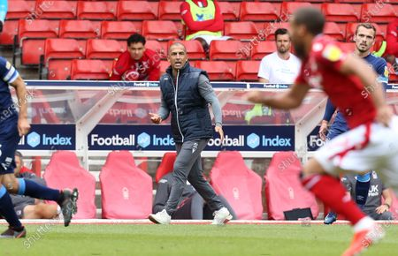 Stock Photo of Nottingham Forest Manager Sabri Lamouchi shouts instruction