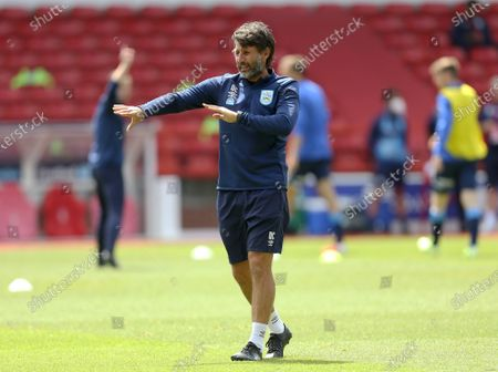 Stock Picture of Huddersfield Town's manager Danny Cowley watches the warm up