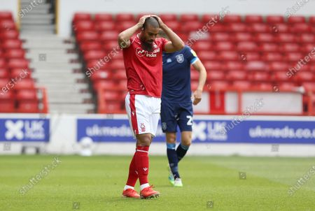 Nottingham Forest's Lewis Grabban shows frustration after a missed opportunity