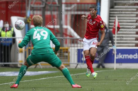 Nottingham Forest's Brennan Johnson hits the side netting from a tight angle