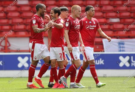 Nottingham Forest's Lewis Grabban celebrates the first goal