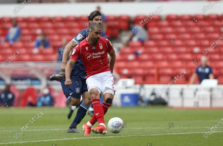Nottingham Forest's Lewis Grabban scores the second goal