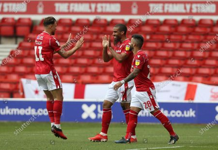 Nottingham Forest's Lewis Grabban celebrates the second goal