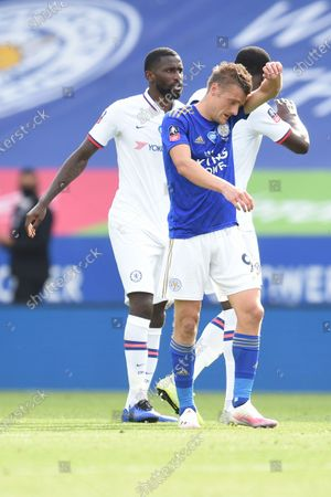Jamie Vardy of Leicester City shows a look of dejection after the match.