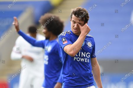Ben Chilwell of Leicester City shows a look of dejection during the game.