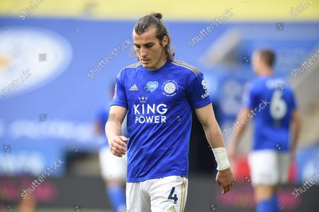 Caglar Soyuncu of Leicester City shows a look of dejection during the game.