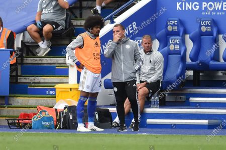Brendan Rodgers manager of Leicester City talks to Hamza Choudhury of Leicester City.