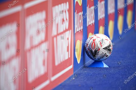 FA Cup branded Mitre football on a cone at the side of the pitch