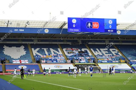 Emirates branded logo on the big screen inside the stadium.