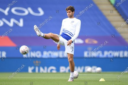 Marcos Alonso of Chelsea warms up.
