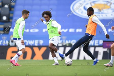 Willian of Chelsea warms up.