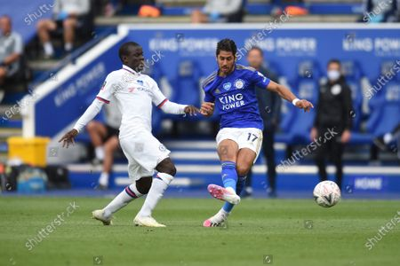 Ngolo Kante of Chelsea challenges Ayoze Perez of Leicester City.