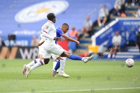 Youri Tielemans of Leicester City takes a shot.