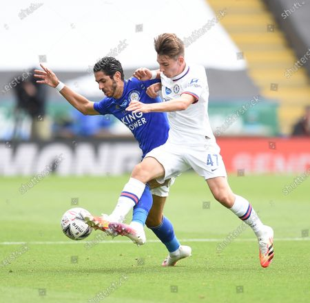 Ayoze Perez of Leicester City is challenged by Billy Gilmour of Chelsea.
