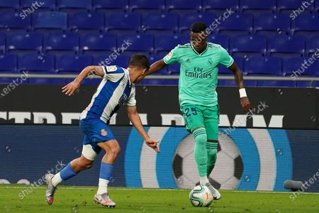 RCDE Stadium, Barcelona, Catalonia, Spain; Vinicius jr. breaks forward on the ball; La Liga Football, Real Club Deportiu Espanyol de Barcelona versus Real Madrid.