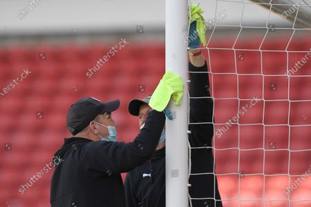Barnsley's goalposts receive a wipe.